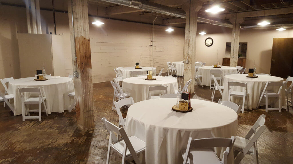 Small Event Space at Coppes Commons, a historic banquet hall in Nappanee, Indiana