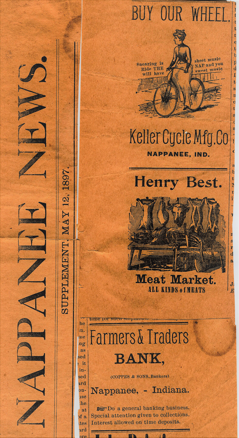 Nappanee News Keller bicycle Ad