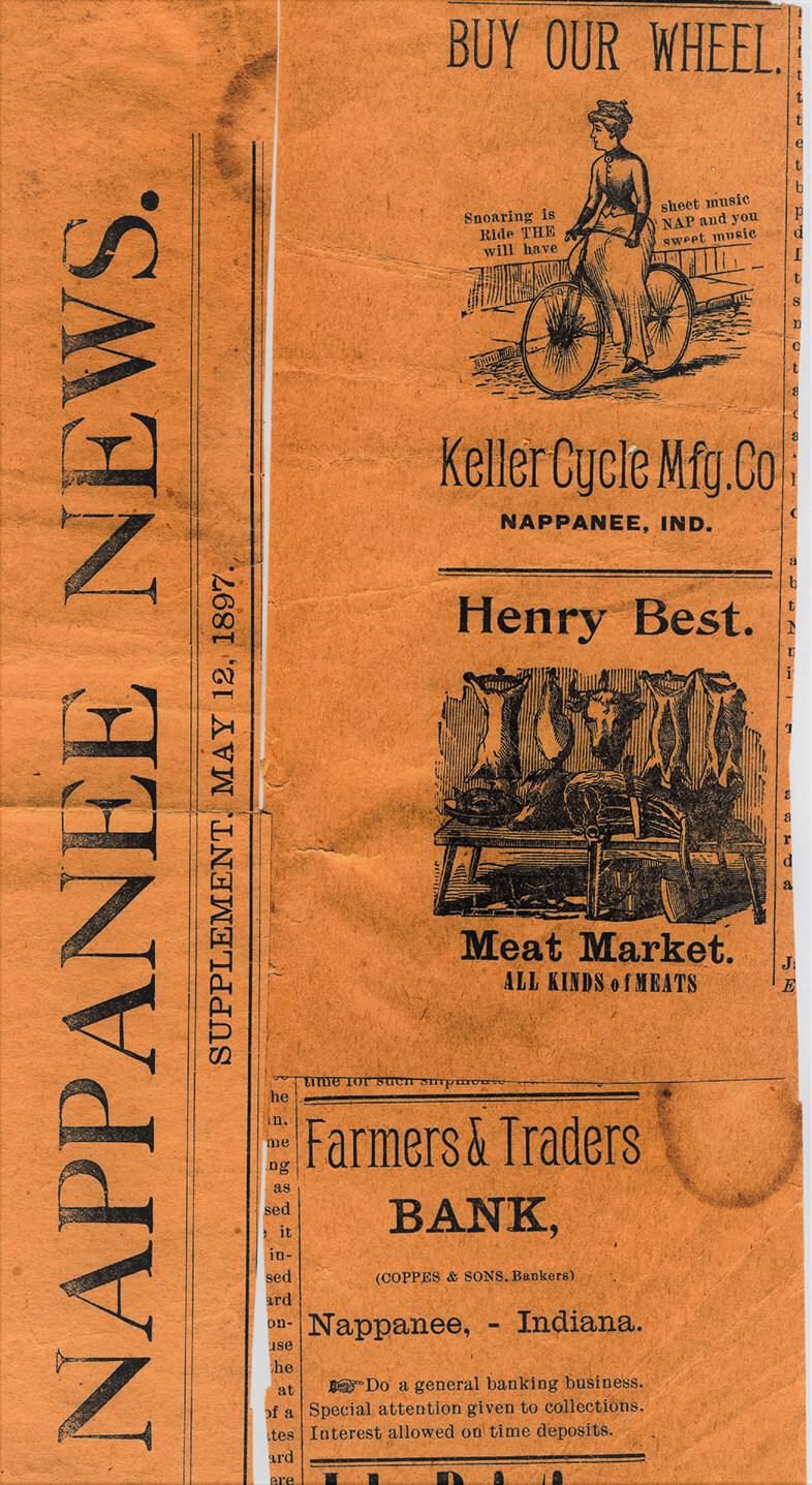 Nappanee News Keller bicycle Ad