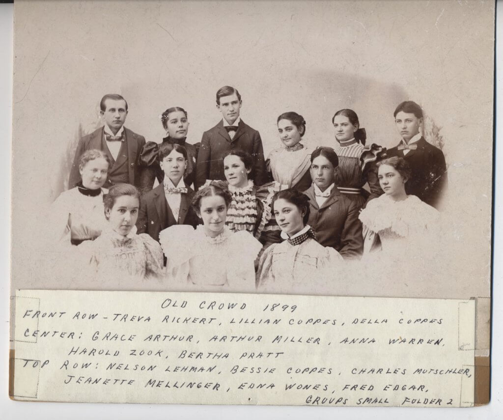 the old crowd 1899, group of young people from nappanee, indiana