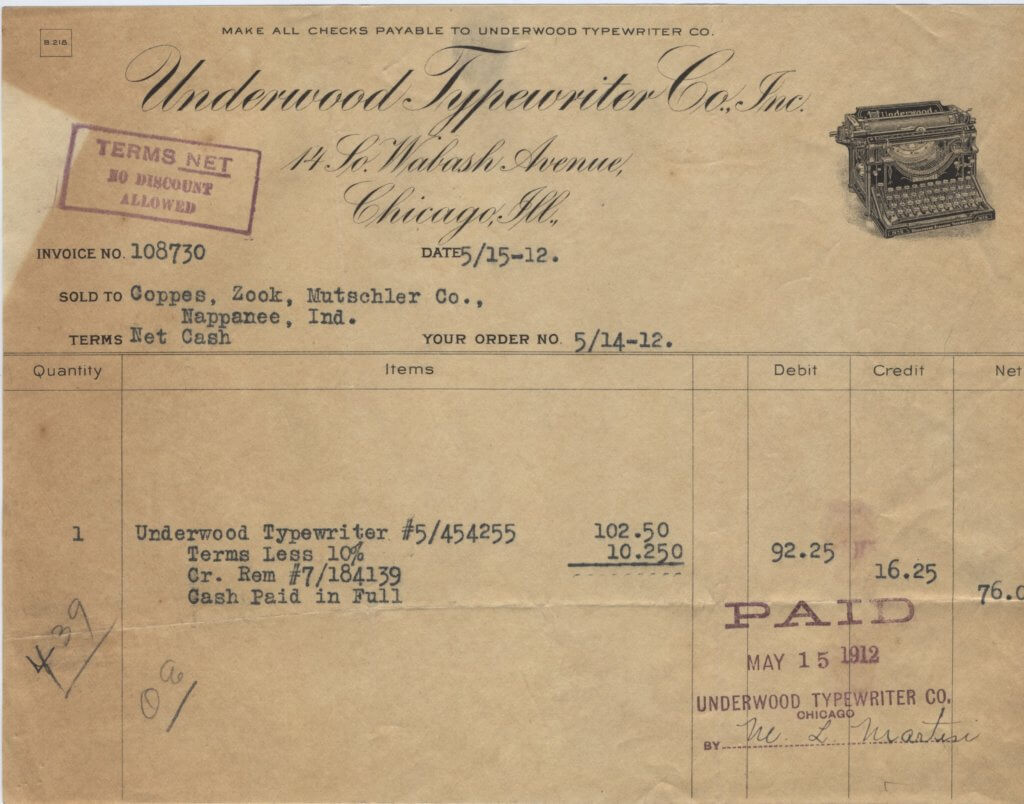 underwood receipt